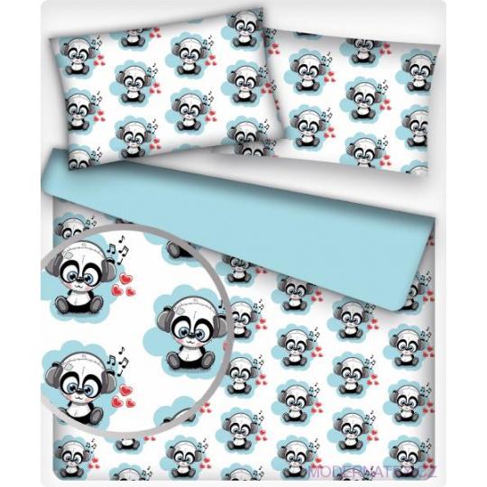 Tkanina bawełniana wzór niebieskie pandy