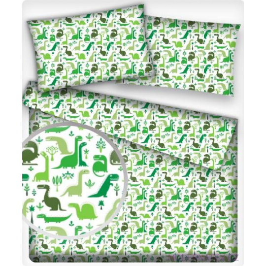 Tkanina bawełniana wzór zielone dinozaury