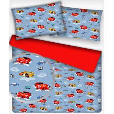 Tkanina bawełniana wzór samochody sportowe na niebieskim tle