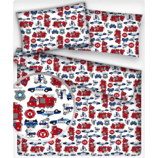 Tkanina bawełniana wzór policja na białym tle