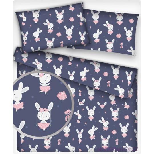 Tkanina bawełniana wzór biały króliczek w różowej sukience na granatowym tle