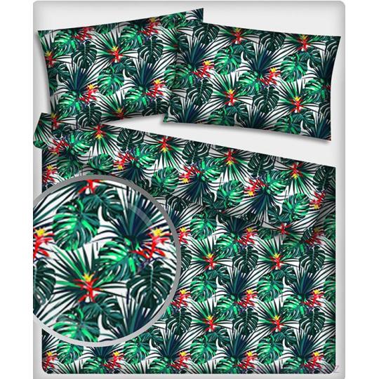 Tkanina bawełniana wzór Tropikalne Liście i kwiaty