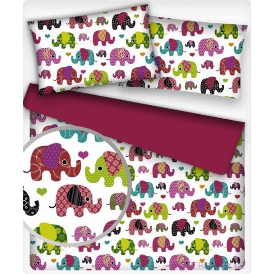 Tkanina bawełniana wzór amarantowe słonie