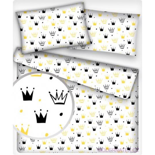 Tkanina bawełniana Korony żółto czarne na białym tle