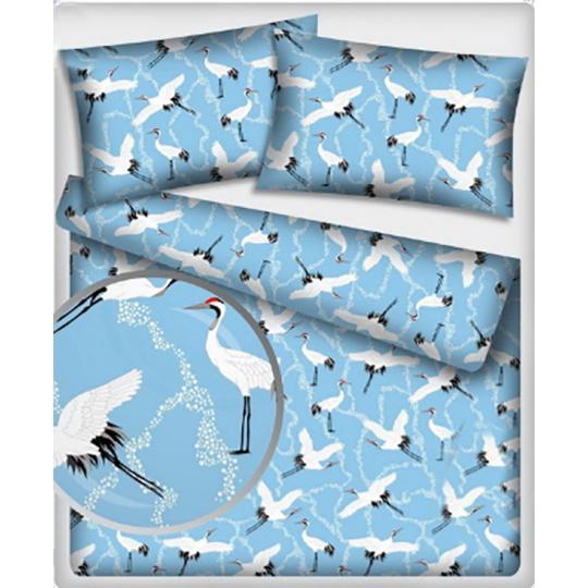 Tkanina bawełniana wzór Czapla na błękitnym tle