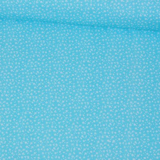 Tkanina bawełniana białe mini kwiaty na błękitnym tle