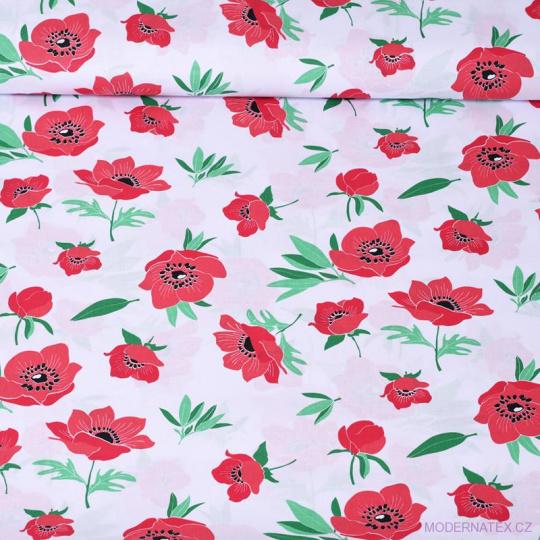 Tkanina bawełniana wzór czerwone maki na białym tle