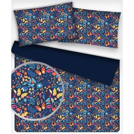 Tkanina bawełniana wzór kolorowe motyle na granatowym tle