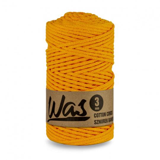 Sznurek bawełniany 3mm, 100m Ciemny żółty