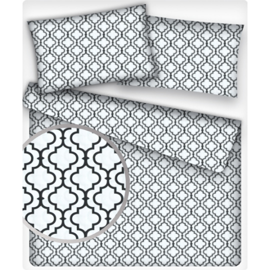 Dekoracyjna tkanina bawełniana wzór Maroko białe