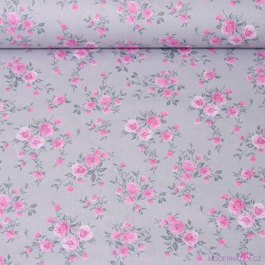 Tkanina bawełniana Róże na szarym tle