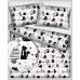 Tkanina bawełniana wzór szare, czarne i białe koty na szarym tle