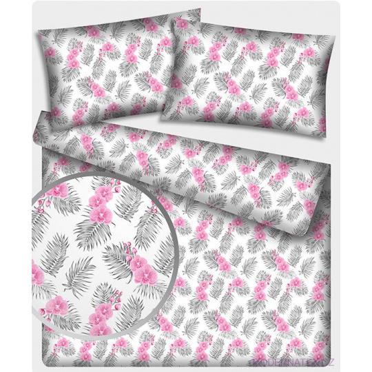 Tkanina bawełniana z wzorem różowych orchidej na białym tle
