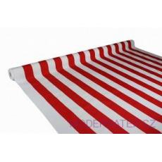 Tkanina Wodoodporna Premium wzór czerwone paski