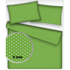 Tkanina bawełniana białe groszki 3 mm na zielonym tle