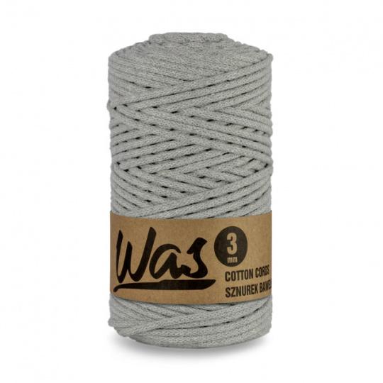 Sznurek bawełniany 3mm, 100m Szary