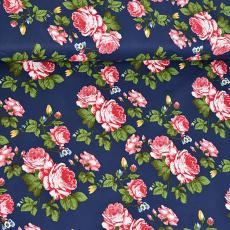 Tkanina bawełniana wzór róży 1393 na granatowym tle