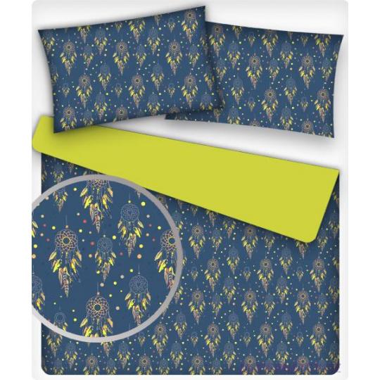 Tkanina bawełniana żółte Łapacze snów na granatowym
