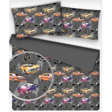 Tkanina bawełniana wzór auto na grafitowym tle