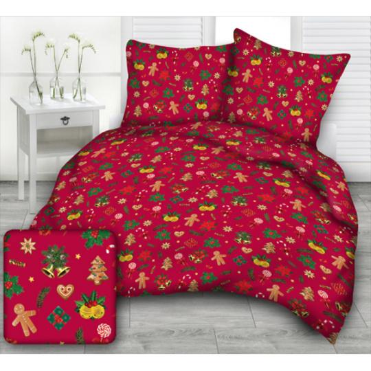Tkanina bawełniana wzór prezenty świąteczne na czerwonym tle