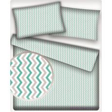 Tkanina bawełniana wzór zielono-szaro-białe zygzaki
