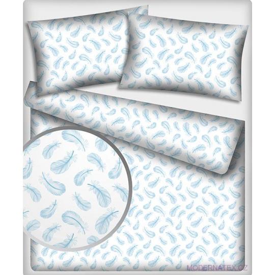 Tkanina bawełniana wzór jasnoniebieskie pióra na białym tle