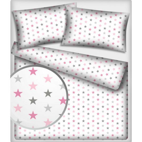 Tkanina bawełniana różowo szare gwiazdy na białym tle