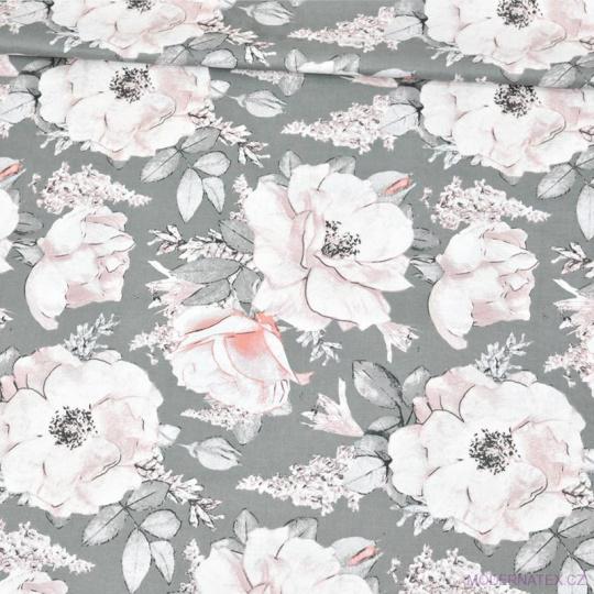 Tkanina bawełniana wzór jasnoróżowe bukiety kwiatów na szarym