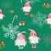 Tkanina bawełniana wzór srebrne płatki śniegu na zielonym tle