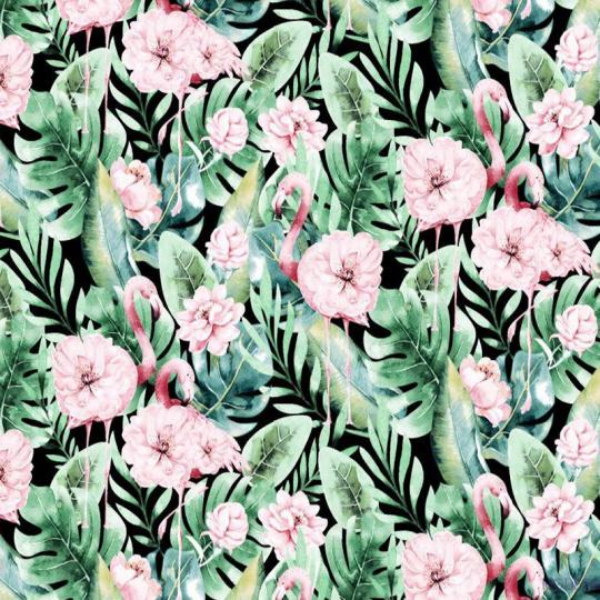 Tkanina bawełniana wzór różowe flamingi i zielone liście