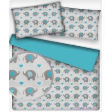 Tkanina bawełniana wzór szare słonie i jasnoniebieskie serca