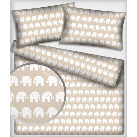 Tkanina bawełniana wzór białe słonie na beżowym tle