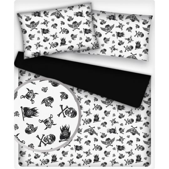 Tkanina bawełniana wzór czarne pirackie czaszki na białym tle