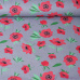 Tkanina bawełniana wzór czerwone maki na szarym tle