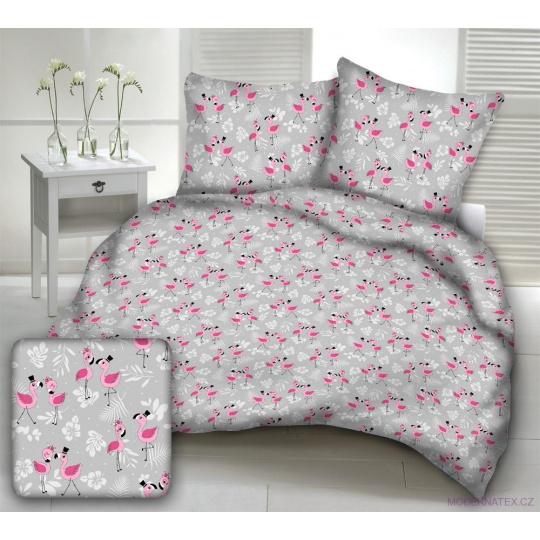 Tkanina bawełniana wzór różowy Flamingo na szarym tle