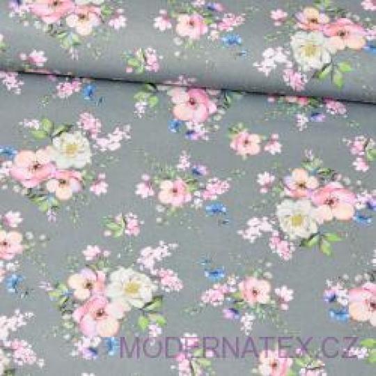 Tkanina bawełniana wzór różowo białe bukiety kwiatów na szarym tle