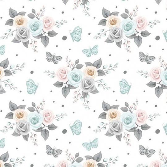 Tkanina bawełniana wzór bukiety różowych, niebieskich, szarych i beżowych róż na białym tle