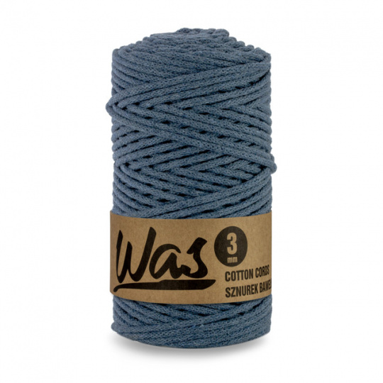 Sznurek bawełniany 3mm, 100m Dżinsowy