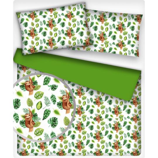 Tkanina bawełniana wzór leniwiec na białym tle