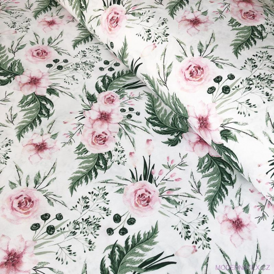 Tkanina bawełniana wzór różowe bukiety kwiatów