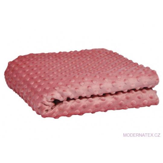 Minky koloru różowy z kropkami