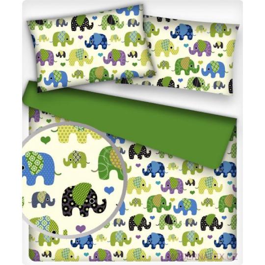 Tkanina bawełniana wzór Zielone Słonie