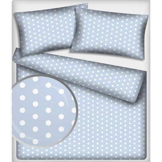 Tkanina bawełniana Białe groszki 22 mm na niebieskim tle