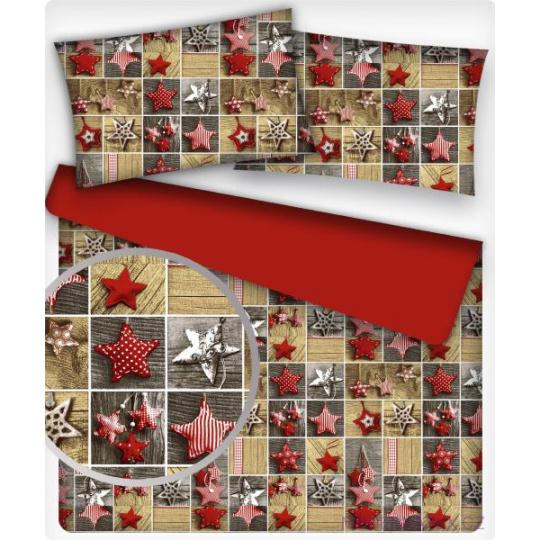 Tkanina bawełniana czerwone srebrne świąteczne gwiazdki