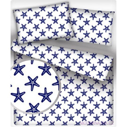 Tkanina bawełniana wzór granatowe rozgwiazdy