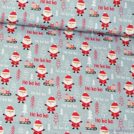 Tkanina bawełniana świąteczna wzór czerwony Święty Mikołaj
