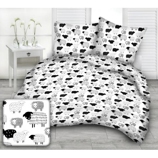 Tkanina bawełniana wzór czarno białe owce na białym tle