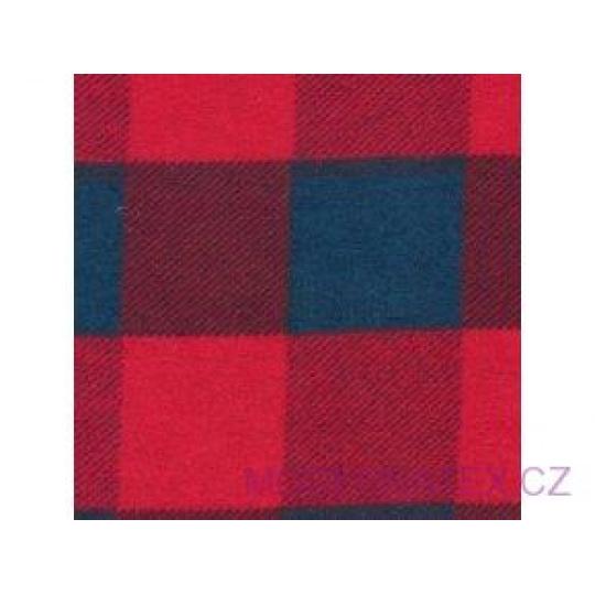 Tkanina flanelа granatowo-czerwona 4x4 kratka