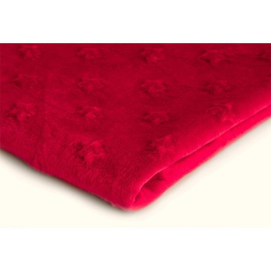 Minky w kolorze czerwonym ze wzorem gwiazd