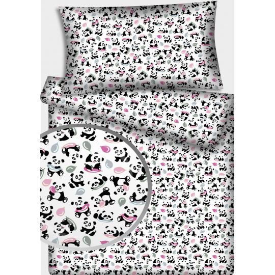 Tkanina bawełniana wzór Panda z kulkami